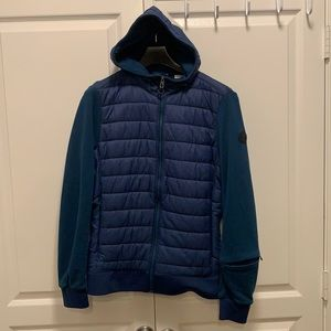 Timberland quilted front zip jacket blue